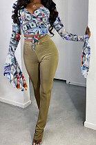 Sexy Polyester Long Sleeve V Neck Waist Tie Tee Top Petals Sleeve  Shirts  PU6003