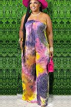 Casual Polyester Tie Dye Mid Waist   Jumpsuit  WA7079