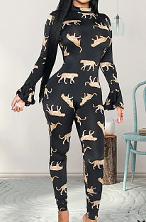Sexy Polyester Animal Graphic Long Sleeve Halterneck Bodycon Jumpsuit  WT9022