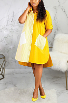 Casual Modest Simplee Striped Short Sleeve Spliced Shirt Dress SMR9726