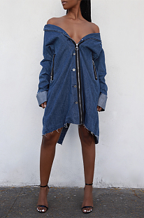 Casual and stylish with vintage split denim jackets LA3039