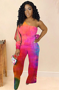 Jumpsuits van polyester met tie-dye-print WA7074