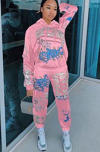 Street Style Women Printed Long Sleeve Hoodie Pants Sets AMM8273