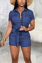 Casual Sexy Simplee Short Sleeve Lapel Neck Romper SMR9715