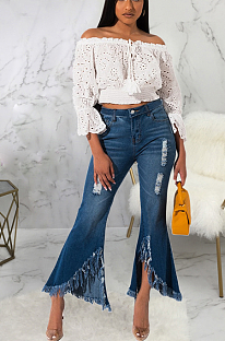 Casual flared jeans with slit knees SMR2321