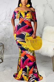 Симпатичное элегантное сексуальное длинное платье с цветочным принтом и открытыми плечами с вырезом и воланом SMR9720