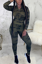 Casual Sporty Simplee Camo Long Sleeve Stand Collar Pants Sets SMR9702