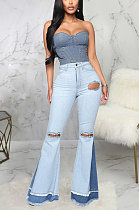 Casual flared jeans with slit knees SMR2319