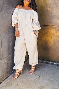 Casual solid-color loose one-word shoulder jumpsuit DMM8148