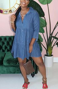 Повседневное скромное простое платье-рубашка с длинными рукавами и лацканами и пуговицами спереди