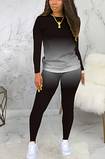 Casual Sporty Simplee Long Sleeve Round Neck Skinny Pants Sets SMR9735
