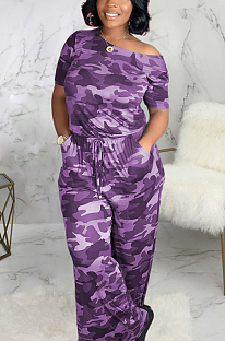 Casual Sexy Simplee Camo Short Sleeve Off Shoulder Waist Tie  Wide Leg Jumpsuits SMR9686