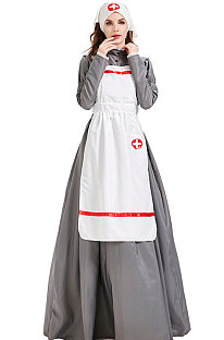 Casual Polyester Long Sleeve All Saints' Day The Nurse Put  Long Dress PS3342