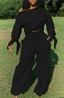 Повседневные скромные простые комплекты широких брюк с длинными рукавами и ремнем безопасности