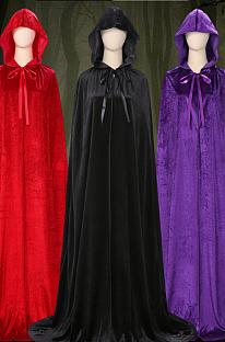 Костюм на Хэллоуин для взрослых, ведьмы, плащ ведьм, черный, красный, фиолетовый, плащ смерти, Красная Шапочка, волшебный плащ PS7817