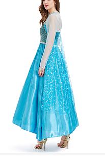 Принцесса королева платья синего цвета для косплея на Хэллоуин PS8639