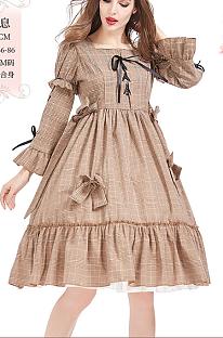 Пасторальное платье цвета хаки в клетку Лолита в стиле кантри PS2510
