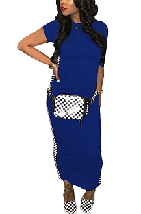 Modest Night Out Sexy Gingham Short Sleeve Round Neck Long Dress QQM4102