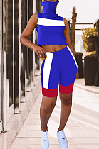 Casual Sporty Simplee Sleeveless High Neck Spliced Shorts Sets YZL807