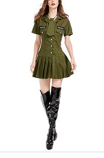 Профессиональная форма женщины-полицейского, персонаж, игра, платье с короткими рукавами, костюм на Хэллоуин PS8639