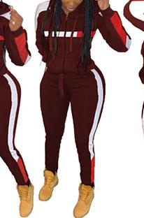 Casual Sporty Simplee Long Sleeve Spliced Hoodie Long Pants Sets HM5272
