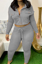 Casual Polyester Knotted Strap Fleece Long Sleeve Tooling Leisure Two-Piece  CYY8028