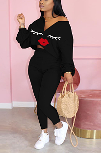 Casual lip print off-the-shoulder suit MD353