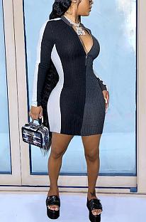 Casual Modest Simplee Long Sleeve Deep V Neck Contrast Panel Mini Dress SH7219