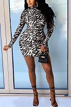 Casual Sexy Simplee Zebra Stripe Long Sleeve High Neck Mini Dress SH7218