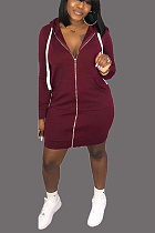 Casual fashion zipper bag hip sexy hoodie dress DMM8101
