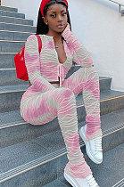 Casual  Fashion Cotton Jacquard Tie Dye Knotted Strap  Pants Sets W8329