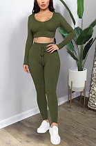 Casual Modest Simplee Long Sleeve Scoop Neck Skinny Pants Sets GL6299