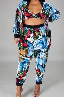 Printing Coat Underwear Facemask Long Pants Four-Piece Suit Leisure Suit  YF1297