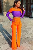 Fashion Polyester Long Sleeve Spliced High Waist Flare Leg Pants Casual Sets  HR8069