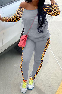 Pantaloni lunghi sportivi leopardati in poliestere Tee Top Set casual Sciarpa esclusa WA7095