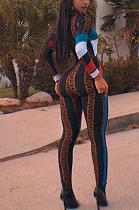 Basics Elegant Sexy Long Sleeve Round Neck Contrast Panel Bodycon Jumpsuit ORY5170