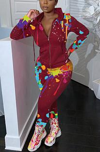 Pantaloni della tuta con cappuccio a maniche lunghe a maniche lunghe con motivo tie dye sportivo casual CM790
