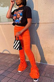 Casual solid-color lantern trouser leg versatile pleated trousers JLX6877