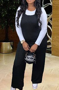 Set di pantaloni a vita media con bretelle di colore puro di grandi dimensioni Moda WA7094