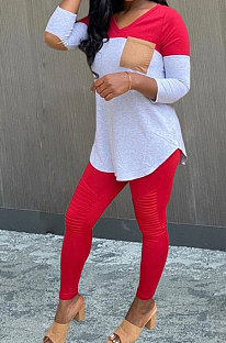 Casual Polyester Spliced Long Sleeve Pants Sets WA7096