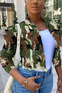 Camo Lapel Neck Cultivate One's Morality Jean jacket Single-Breasted WE7098