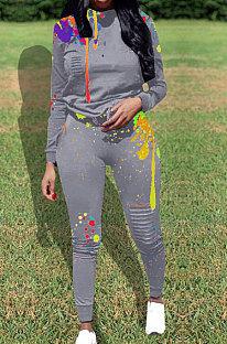 Casual Poliestere Splash-inchiostro Foro di accensione nel ginocchio Pantaloni lunghi due pezzi WA7092