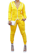 Sporty Long Sleeve Fleece Hooded Pure Color Zipper Pants Sets YMT6117