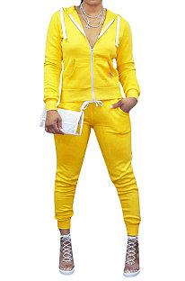 Sporty Long Sleeve Fleece Hooded Pure Color Zipper Pants Sets YMT6117