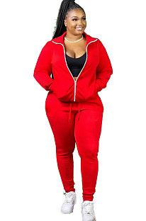 Fashion Autumn And Winter Pure Color Zipper Pocket Long Sleeve Long Pants Sporty Sets  SM9113