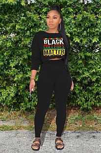 Fashion Black Print Long Sleeve Pants Sets BBN107