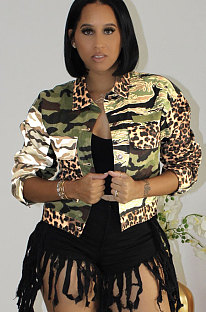 Leopard Camo Color Matching  Jacket Long Sleeve  Coat YYZ642
