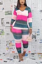 Terno listrado colorido casual e adorável MTY6297