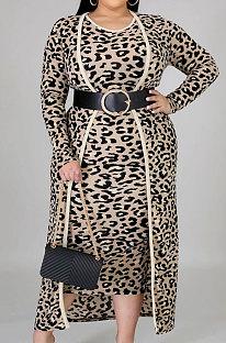 Casual Polyester Leopard Long Sleeve Coat Sundress Sets NY5059