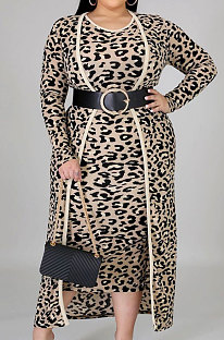 Lässige Polyester Leopard Langarm Mantel Sommerkleid Sets NY5059